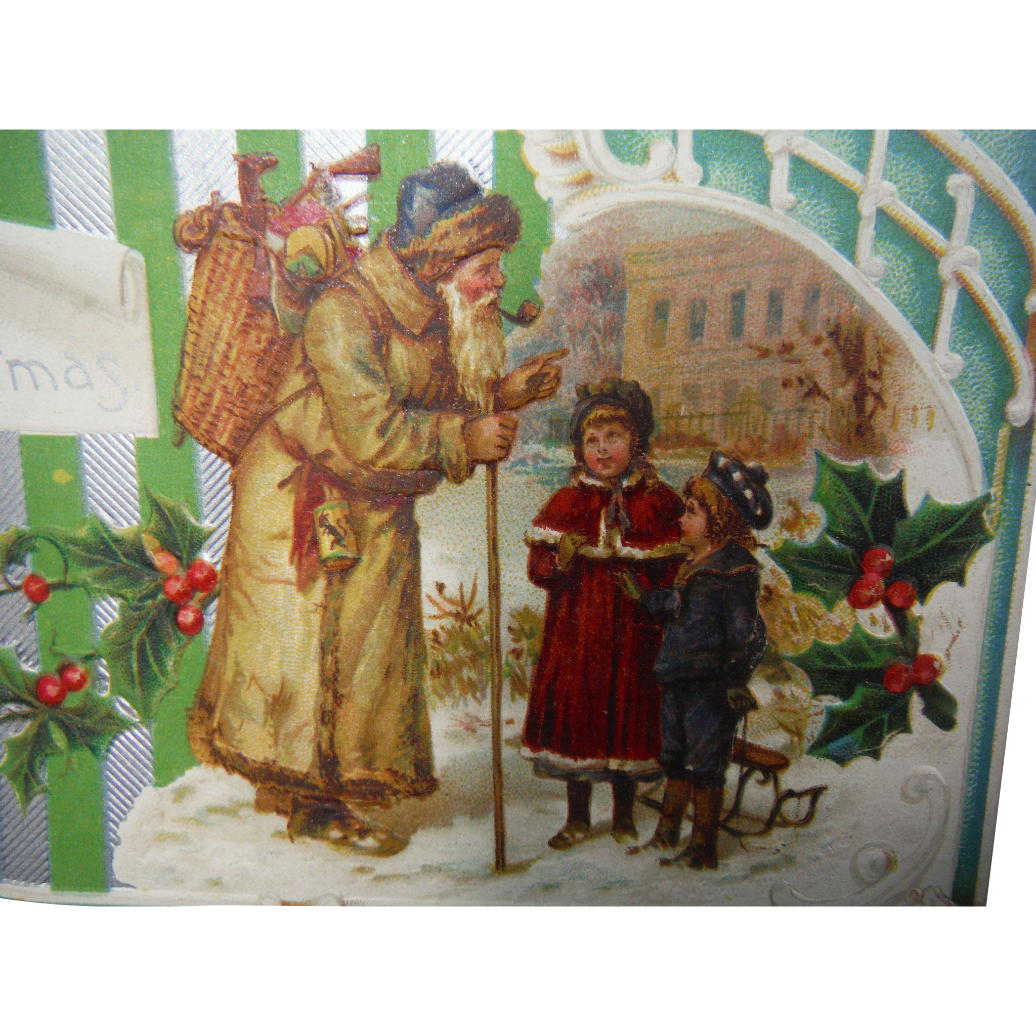 Antique Old World Santa Claus Germany Edwardian Christmas Post Card Saint Nicholas with Children Embossed 1910