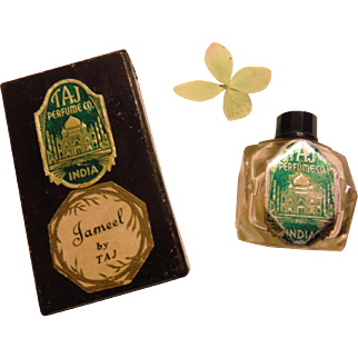 Art Deco Exotic Flapper Jameel by Taj Mini Perfume Scent Fragrance Bottle in Original Box 1930s India Vintage Taj Mahal Miniature
