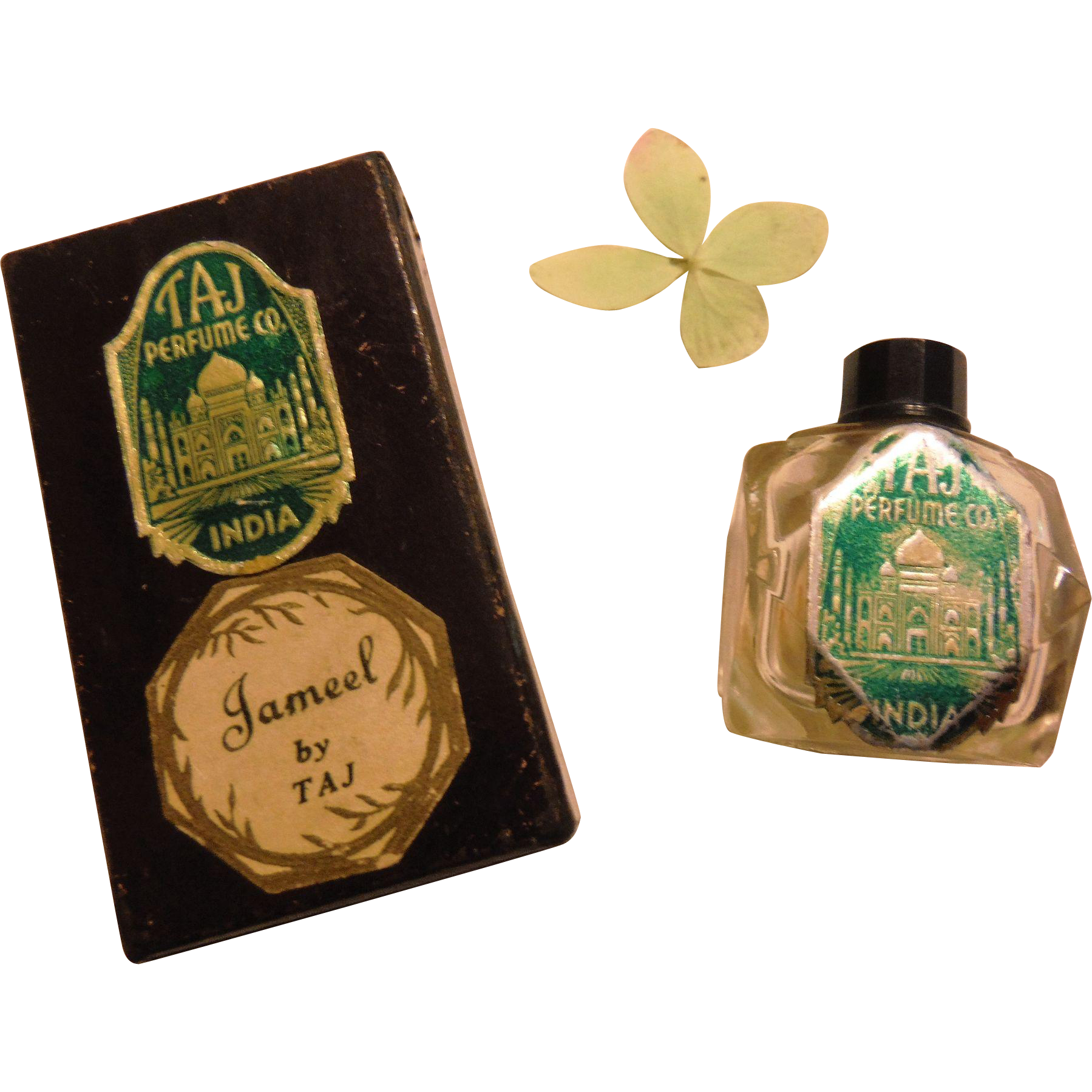 Art Deco Exotic Flapper Jameel by Taj Mini Perfume Scent Fragrance Bottle in Original Box 1930s India Vintage Taj Mahal Miniature