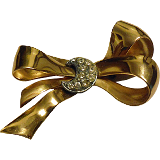 Art Deco CORO Signed Gold Plated Bow with Pot Metal Rhinestone Celestial Crescent Moon Pin Brooch Vintage
