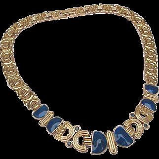 TRIFARI Swirled Royal Blue Enamel & Crystal Gleaming Gold Choker Necklace