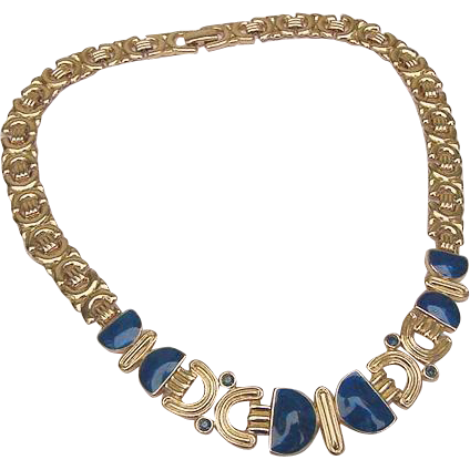 TRIFARI Swirled Royal Blue Enamel & Crystal Gleaming Gold Choker Necklace