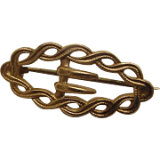 Sweet Victorian Antique Belt Buckle Brooch Pin Gold Gilt Plated