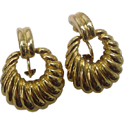 Classy Vintage Napier Gold Plated Clip Ons with Adjustable Tension Screw Backs Dangle 1.25inches Earrings
