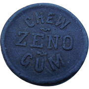 Antique Candy Advertising Chew ZENO Gum Wooden Premium Wood Coin Zeno Means Good Chewing Gum Victorian