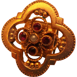Beautiful Victorian Watch Fob Chain Bracelet Slide Pendant Ruby Seed Pearl Gold Gilt Plated Antique