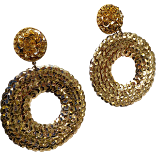 Amazing Runway Vintage Gold Sequin & Seed Beads Hand Sewn Earrings Dangle Clip Ons 3.25inches