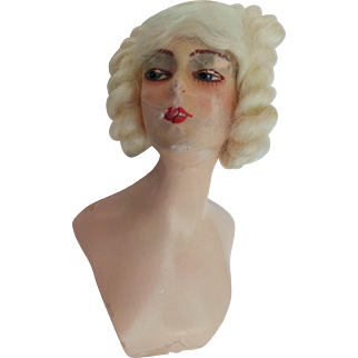 Antique Boudior Half Doll Wax over Composition ? Blonde Hair Teeth