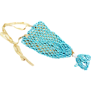Antique Turquoise Robin Egg Blue & White Seed Bead 4 inch Evening Bag with 2inch Tassel Small Young Lady Child or even Doll