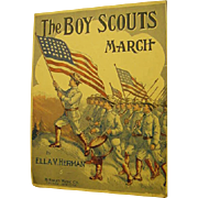 Patriotic Boy Scouts March 1911 Antique Sheet Music Waving Flags