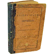 Antique 1849 The United States Arithmetic Math Book Vodges Leather Mathematics School Textbook Primitive