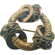 Victorian Etruscan Revival Gold Gilt Brooch Pin Possibly Garnet Stones Antique