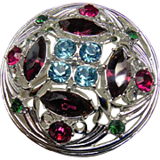 FINE Vintage Sarah Coventry Cov Springtime Rhinestone Brooch Pin 1972 Purple Blue Pink Green
