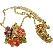 BG375 Charming Possibly Swaboda Coral Amethyst Peridot Gold Plated Necklace Pendant Vintage