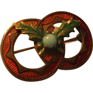 Antique Victorian to Art Nouveau Lover's Knot Guilloche Enamel Holly Leaves & Faux Turquoise Yuletide Christmas Pin Brooch