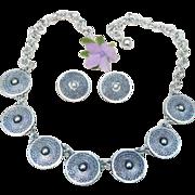 Sharp Vintage Eloxal Germany Silver Choker Necklace Earrings Clip Ons Set Demi Parure Art Deco