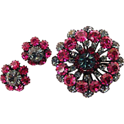 BG112 Gaudy Vintage Austria Crystal Brooch Pin & Earring Set Fuchsia Pink Smoky Blue Japanned