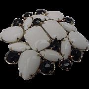 BG106 Big Black & White Milk Chunky Glass Crystal Rhinestone Unsigned Designer Brooch 2.25inch Pin