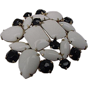BG106 Big Black & White Milk Chunky Glass Crystal Rhinestone Unsigned Designer Brooch 2.25inch Pin
