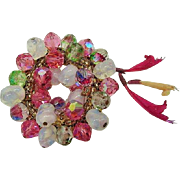 BG102 Iris Art Glass Opalescent Cha Cha Brooch Pin Pink Green Crystal Seed Beads Vintage