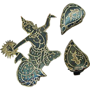 BG130 Niello Sterling Silver Made in Siam Demi Parure Lady Dancer Enamel Nielloware Earrings & Brooch Pin
