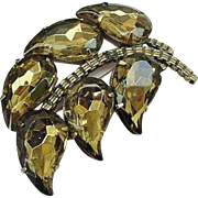 BG74 Facetted Molded Glass Juliana Style Big Leaf Brooch Pin Pendant Combo Topaz vintage