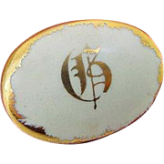 BG267 Victorian to Edwardian Initial G Gold Gilt Hand Painted Porcelain Brooch Pin Antique