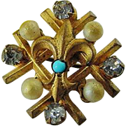 BG151 Victorian Paste Glass Turquoise & Pearls Gold Gilt Fill Plate Fleur De Lis Brooch Antique
