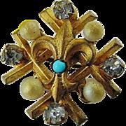 BG151 Victorian Paste Glass Turquoise & Pearls Gold Gilt Fill Plate Fleur De Lis Brooch Antique