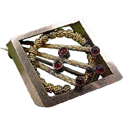 BG115 Antique Victorian Garnet Gold Fill Plate Brooch Pin Pendant Combo