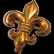 Fleur De Lis Antique Victorian Watch Holder Chatelaine Brooch Pin Gold Gilt Plated