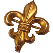 Fleur De Lis Antique Victorian Watch Holder Chatelaine Brooch Pin Gold Gilt Plated