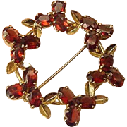 Vintage Genuine Garnet & Leaf Gold Plated Circle Brooch Pin