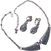 Vintage Baby Blue Crystal & Ice Clear Rhinestone Silver Tone Necklace Earrings Set Demi Parure