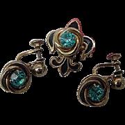 Vintage Coro Turquoise Blue Crystals Rhinestone Fleur de Lis & Lovers Knots Dangle Earrings Set