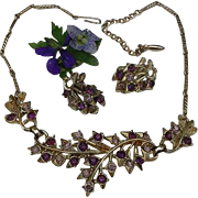 Vintage CORO amethyst purple and violet purple Rhinestone Necklace Choker & Clip Earrings Set