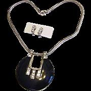 BG741/601 Vintage Ice Clear Crystal Rhinestones & Black Snake Chain Necklace Choker Slide Pendant Clip On Earring Set CLASSY