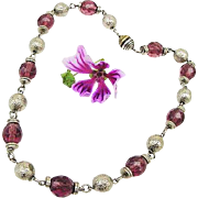 BG173 Eye Catching Art Deco Purple Crystal & Silver Bead 15inch Necklace Choker Vintage