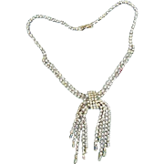 BG182 Vintage 1950s Ice Clear Crystal Rhinestone Necklace Choker Liquid Dangles