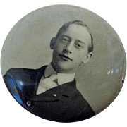 Antique Victorian 1898 Young Man Boy with NeckTie Perhaps Graduate Photo Button Celluloid Photograph Pinback