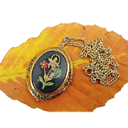 BG378 Charming Art Deco Vintage Large Photograph Locket Victorian Revival Enamel Marcasite Flowers