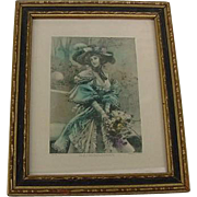 Antique Victorian to Edwardian Framed Art In a French Garden Lithograph Print Lady Looks in Hat with flowers Hand Tinted
