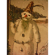 Antique Postcard Mailick Signed Sad Snowman Glitter Undivided Back PC Winkler & Voight