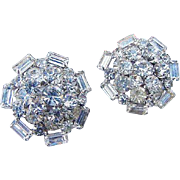 BG52 Big 1.25inches Riveted Domed Layered Crystal Ice Rhinestone Earrings Clips Vintage