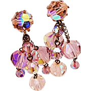 BG204 2inch Long Crystal Dangle Chandelier Earrings In Pale Pink & Lilac Purple Drop Clip Ons Vintage
