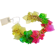 BG540 Vintage Lucite Watch Bands Dangle Charm Leaf & Fruit Salad Cherry Balls Hot Pink Spring Green Lemonade Yellow