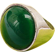 BG122 Vintage Sterling Silver Israel Statement Green Cabochon Glass or Stone Unisex Ring Size 4.75 Pinky 925