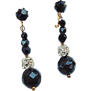 BG382 Sparkling Long Crystal Black & White Clear Rhinestone Ball Dangle Drop Gold Clip Earrings Vintage