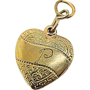 BG372 Antique Gold Gilt Plate Heart Puffy Charm Pendant Bracelet Initial P Edwardian to Art Nouveau