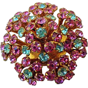 BG228 Domed Floral Brooch Pin Czechoslovakia Crystal Hot Pink & Baby Blue Vintage Gold Gilt Czech